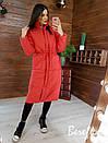 Женское плащевое зимнее Пальто с капюшоном и карманами 66pal261Е, фото 5