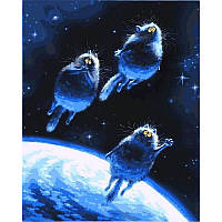 """Картина раскраска по номерам """"Синие коты"""" на холсте 40Х50 см. Babylon VP878"""
