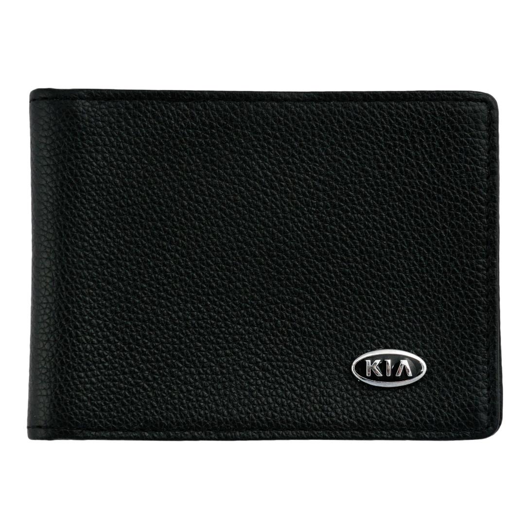 Кожаный бумажник двойного сложения с эмблемой KIA