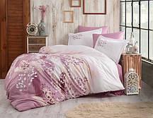 Постельное белье Евро комплект HOBBY сатин Exclusive Sateen Noemi темно-розовый