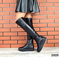 Зимние кожаные сапоги ботфорты 36-41 р ( европейка)