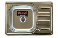 Врезная кухонная мойка Platinum 70*50 (мм) в покрытии Satin (матовая), с толщиной 0,8 (мм)