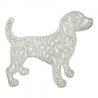 Украшение Собака Ажурная пластик 12х9см (белый)