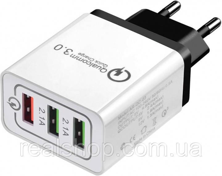 Сетевое зарядное устройство Rock 2.1A на 3 USB +QC3.0
