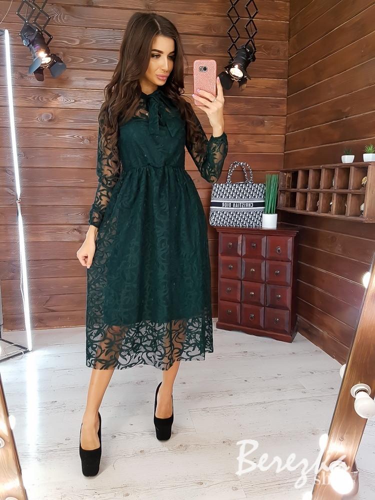 Платье с сеткой флок сверху и пышной юбкой, рукав длинный 66plt350Q