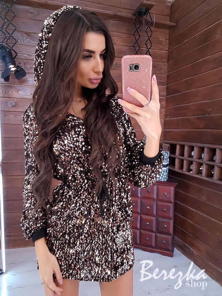 Платье худи из пайетки с кулиской на талии и капюшоном 66plt352Q