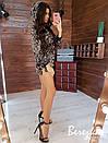 Платье худи из пайетки с кулиской на талии и капюшоном 66plt352Q, фото 3