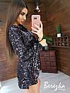 Платье худи из пайетки с кулиской на талии и капюшоном 66plt352Q, фото 5