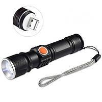 Тактичний ліхтарик X-Balog Police BL-515, вмонтований акумулятор Li-ion 18650, Діод Cree T6, USB, фото 1