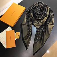 Женский платок в стиле Louis Vuitton Shine Monogram ЧЕРНО-ЗОЛОТОЙ