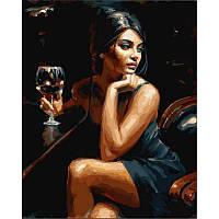 "Картина раскраска по номерам ""Девушка с бокалом Бордо"" на холсте 40Х50 см. Babylon VP890"