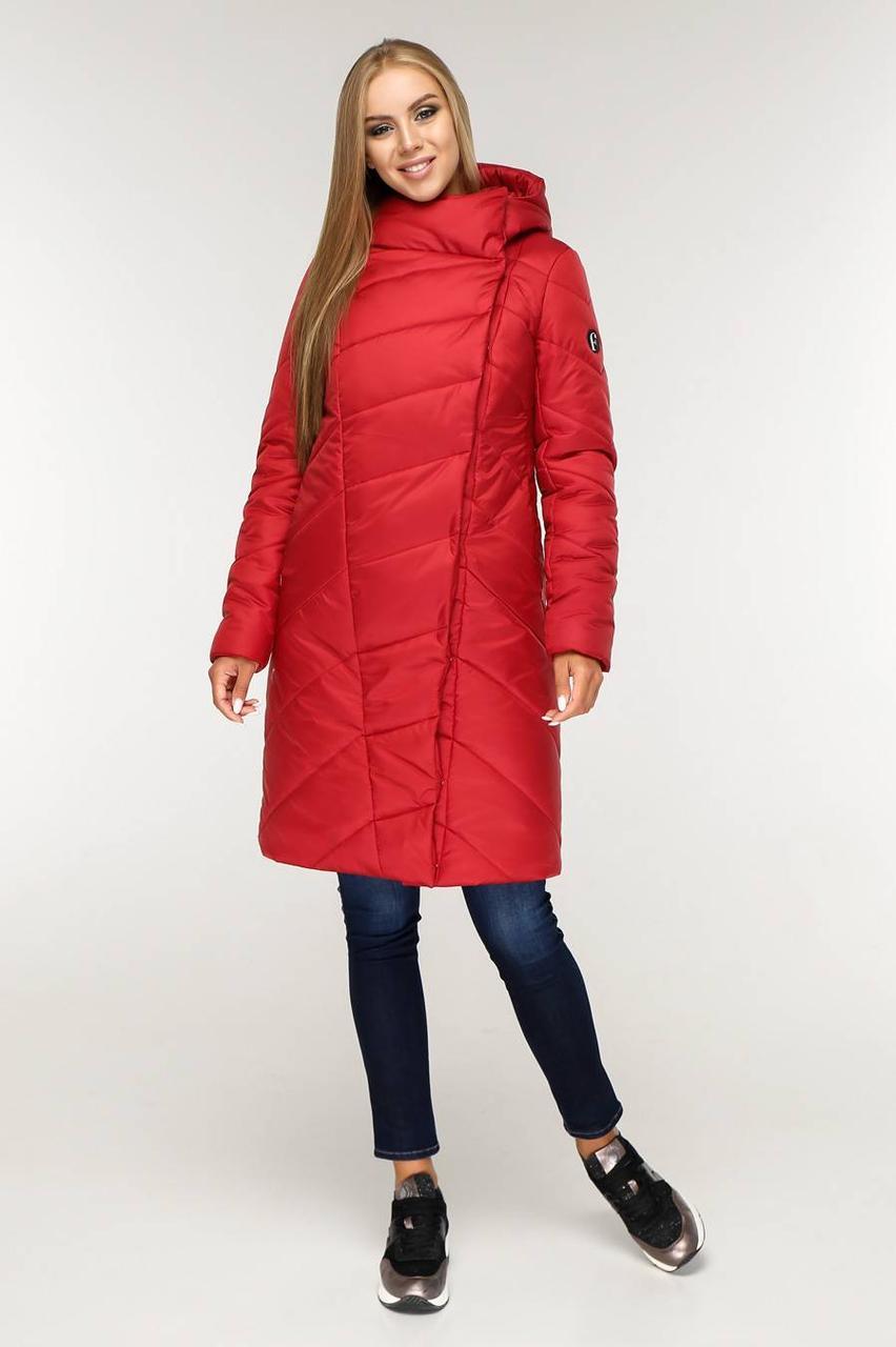 / Розмір 52,58 / Жіночий пуховик зимовий напівприлягаючого силуету ПВ-1143 / колір червоний