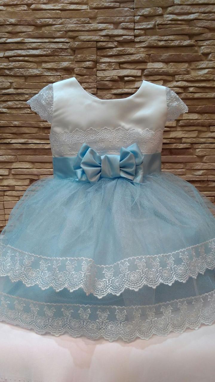 Сукня дитяча святкова на 1-2 роки біла з блакитним