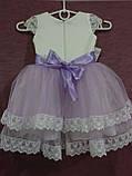 Платье детское нарядное белое с сиреневым на 1.5-2.5 года + повязка на голову с помпоном из фатина, фото 5