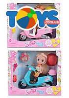 Кукла на мопеде, в наборе аксессуары, 2 вида, 65020