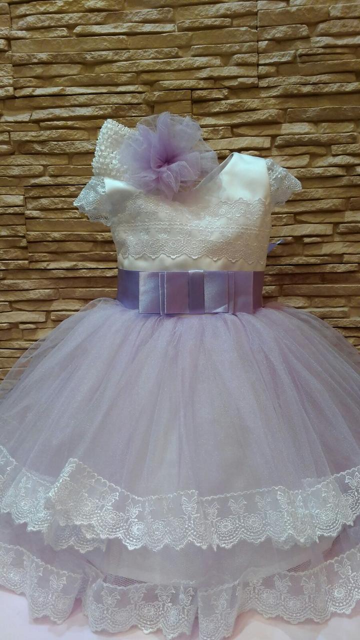 Платье детское нарядное белое с сиреневым на 1.5-2.5 года + повязка на голову с помпоном из фатина