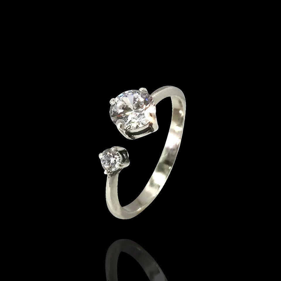 Серебряное кольцо с двумя камнями, фото 1