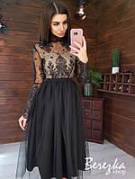 Платье миди с пышной фатиновой юбкой и кружевным верхом с длинным рукавом 66plt357Е