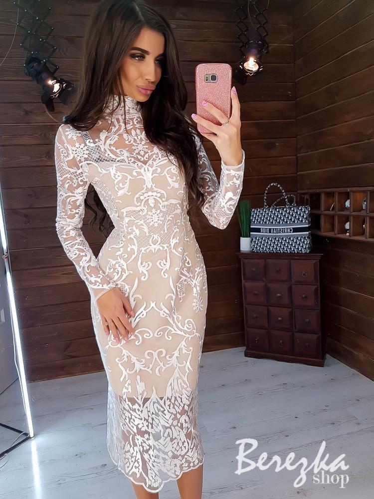Кружевное платье миди с длинным рукавом и высокой горловиной 66plt358Е