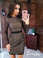Платье футляр из сетки с блестками на подкладе с длинным рукавом 66plt359Е