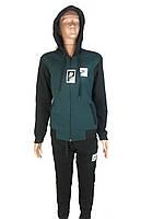 Спортивый костюм теплый зимний подростковый для мальчика 146-152-158-164 черный с зеленым НАЙК,NIKE капюшон