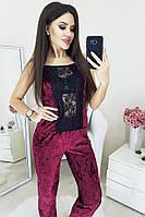 Бархатная пижама с кружевом, фото 1