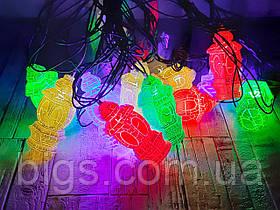 Светодиодная LED гирлянда фигурки Фонарики 12шт 5м