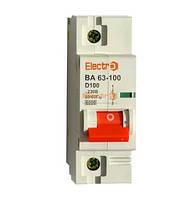 Модульный автоматический выключатель ВА 63-100 1Р 100А D 10кА тм Electro