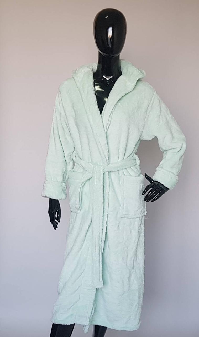 Длинный махровый женский халат «Ментоловый»