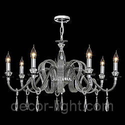 Люстра 7-ми лампова, з хрусталными підвісками для залу, спальні 2465/7 CHS
