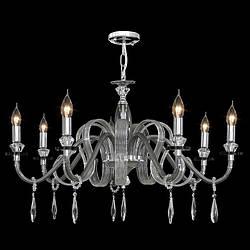 Люстра 7-ми ламповая, с хрусталными подвесками для зала, спальни 2465/7 CHS