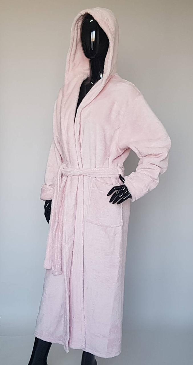 Длинный женский махровый халат «Пудровый»