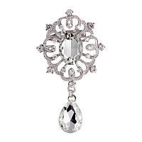 Брошь 6,9*3,8см ретро с подвеской и белыми кристаллами Кристалл, фото 1