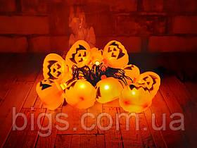 Светодиодная LED гирлянда Тыквы белый теплый 12шт 5м