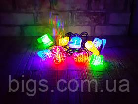 Светодиодная LED гирлянда фигурки разноцветная 12шт 5м