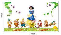 Интерьерные наклейки в детскую комнату, декор детской  Белоснежка и 7 гномов