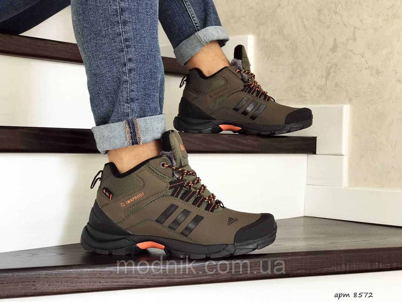 Мужские кроссовки Adidas Climaproof (темно-зеленые) ЗИМА