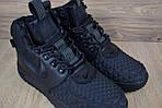 Мужские зимние кроссовки Nike Lunar Force 1 с мехом (черные), фото 3
