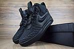 Мужские зимние кроссовки Nike Lunar Force 1 с мехом (черные), фото 4