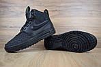 Мужские зимние кроссовки Nike Lunar Force 1 с мехом (черные), фото 7