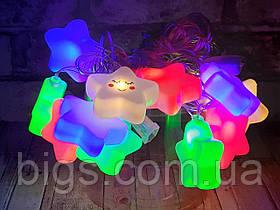 Светодиодная LED гирлянда фигурки снежинки 12шт 5м