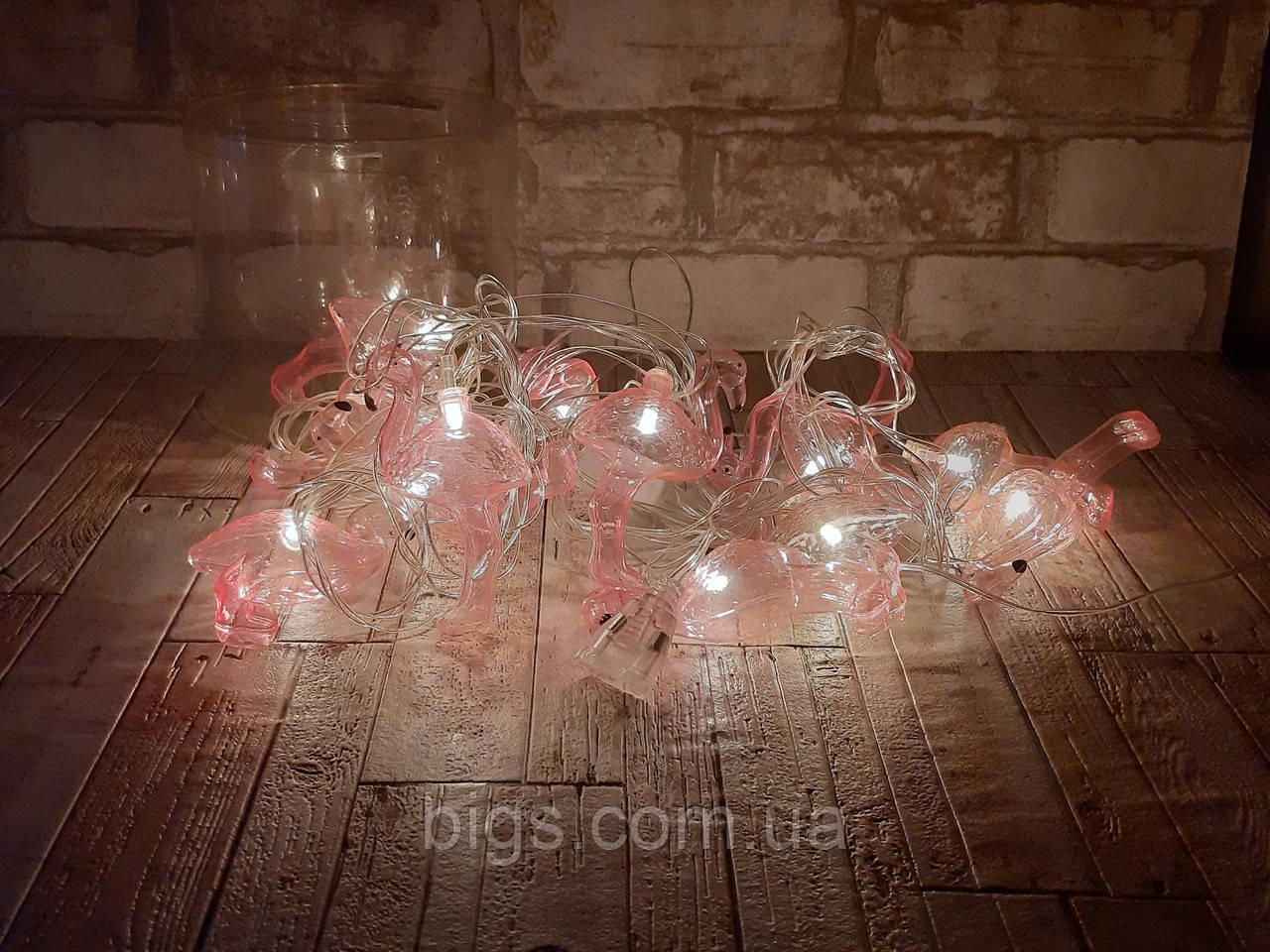 Светодиодная LED гирлянда фламинго белый теплый 12шт 5м