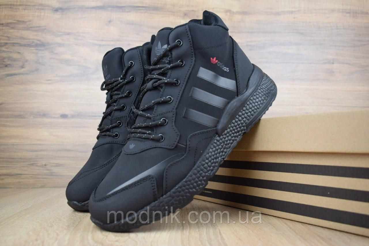 Мужские зимние кроссовки Adidas Jogger с мехом (черные)