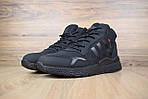 Мужские зимние кроссовки Adidas Jogger с мехом (черные), фото 2