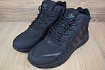 Мужские зимние кроссовки Adidas Jogger с мехом (черные), фото 3