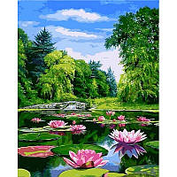 "Картина раскраска по номерам ""Пейзаж с кувшинками"" на холсте 40Х50 см. Babylon VP915"