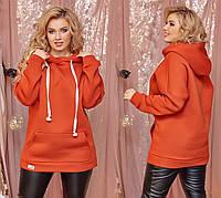 Женское теплое худи №101 (42-62) в расцветках, фото 1