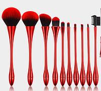 Профессиональный набор кистей для макияжа / визажа для профессионалов ELEGANT 10 штук RED