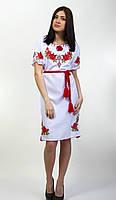 Вышитое женское платье с коротким рукавом, женские вышиванки оптом и в розницу, фото 1
