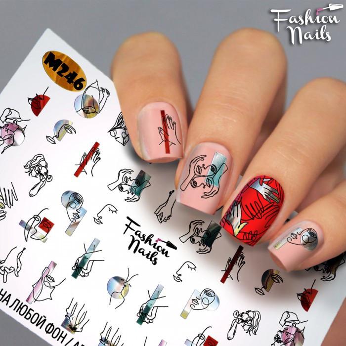Слайдер -дизайн Лицо Девушки Руки Силуэт  - 2Д наклейки для ногтей арт.М246